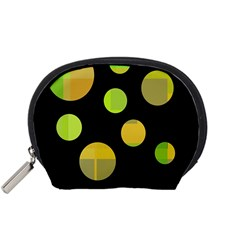 Green abstract circles Accessory Pouches (Small)