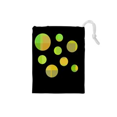 Green abstract circles Drawstring Pouches (Small)