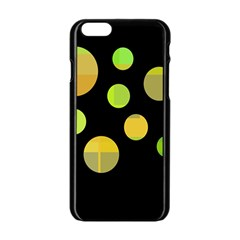 Green abstract circles Apple iPhone 6/6S Black Enamel Case
