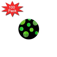 Green circles 1  Mini Magnets (100 pack)