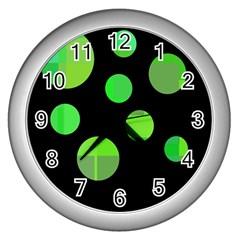 Green circles Wall Clocks (Silver)