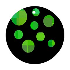 Green circles Round Ornament (Two Sides)