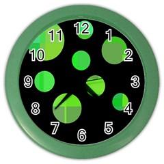 Green circles Color Wall Clocks