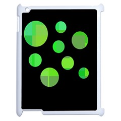 Green circles Apple iPad 2 Case (White)