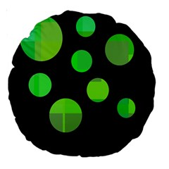 Green circles Large 18  Premium Round Cushions