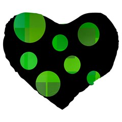 Green circles Large 19  Premium Flano Heart Shape Cushions