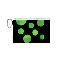 Green circles Canvas Cosmetic Bag (S)
