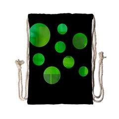 Green circles Drawstring Bag (Small)