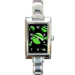 Green balls   Rectangle Italian Charm Watch