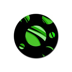 Green balls   Rubber Coaster (Round)