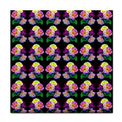 Rosa Yellow Roses Pattern On Black Tile Coasters