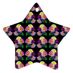 Rosa Yellow Roses Pattern On Black Star Ornament (Two Sides)