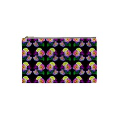 Rosa Yellow Roses Pattern On Black Cosmetic Bag (Small)