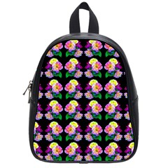 Rosa Yellow Roses Pattern On Black School Bags (Small)