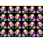 Rosa Yellow Roses Pattern On Black Heart Bottom 3D Greeting Card (7x5)  Back