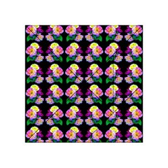 Rosa Yellow Roses Pattern On Black Acrylic Tangram Puzzle (4  x 4 )