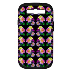 Rosa Yellow Roses Pattern On Black Samsung Galaxy S Iii Hardshell Case (pc+silicone)