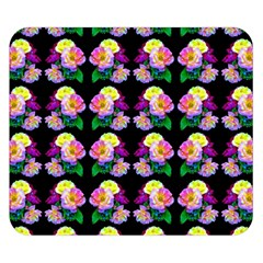 Rosa Yellow Roses Pattern On Black Double Sided Flano Blanket (Small)