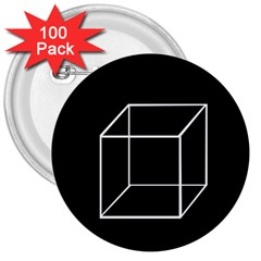 Simple Cube 3  Buttons (100 pack)