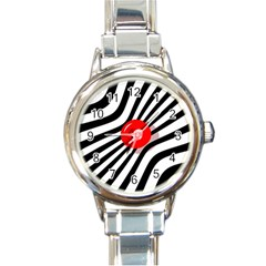 Abstract red ball Round Italian Charm Watch