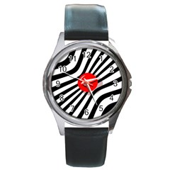 Abstract red ball Round Metal Watch