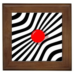 Abstract red ball Framed Tiles