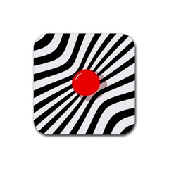 Abstract red ball Rubber Coaster (Square)
