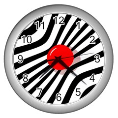Abstract red ball Wall Clocks (Silver)