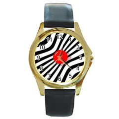 Abstract red ball Round Gold Metal Watch
