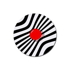 Abstract red ball Rubber Coaster (Round)