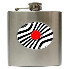 Abstract red ball Hip Flask (6 oz)