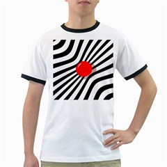 Abstract red ball Ringer T-Shirts