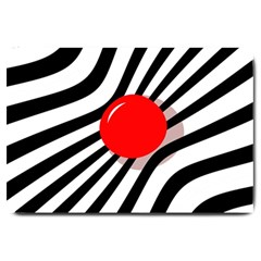 Abstract red ball Large Doormat