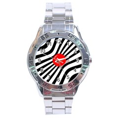 Abstract red ball Stainless Steel Analogue Watch