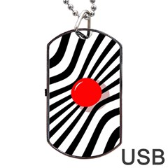 Abstract red ball Dog Tag USB Flash (One Side)