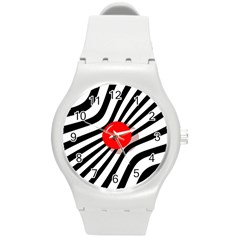 Abstract red ball Round Plastic Sport Watch (M)