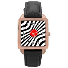 Abstract red ball Rose Gold Leather Watch