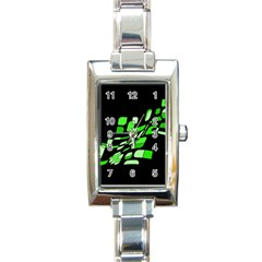 Green decorative abstraction Rectangle Italian Charm Watch
