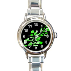 Green decorative abstraction Round Italian Charm Watch