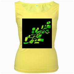 Green decorative abstraction Women s Yellow Tank Top