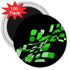 Green decorative abstraction 3  Magnets (100 pack)