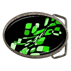 Green decorative abstraction Belt Buckles