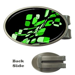 Green decorative abstraction Money Clips (Oval)