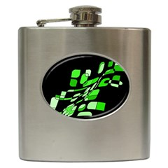 Green decorative abstraction Hip Flask (6 oz)