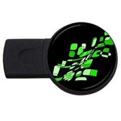 Green decorative abstraction USB Flash Drive Round (1 GB)