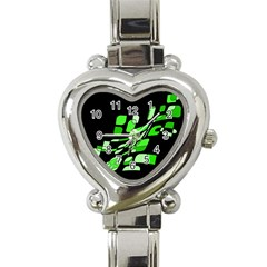 Green decorative abstraction Heart Italian Charm Watch