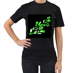 Green decorative abstraction Women s T-Shirt (Black) (Two Sided)
