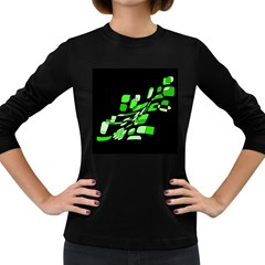 Green decorative abstraction Women s Long Sleeve Dark T-Shirts