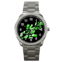 Green decorative abstraction Sport Metal Watch