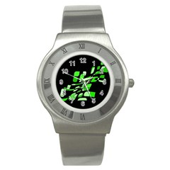 Green decorative abstraction Stainless Steel Watch